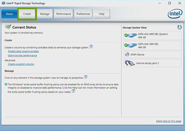 create a RAID 1 volume within Windows using the Intel Rapid Storage Technology utility