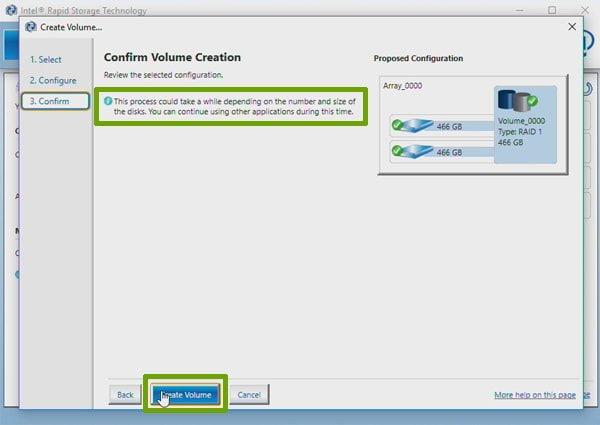 configure RAID 1 using the Intel Rapid Storage Technology software