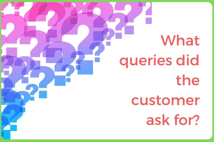 What queries did the customer ask for?